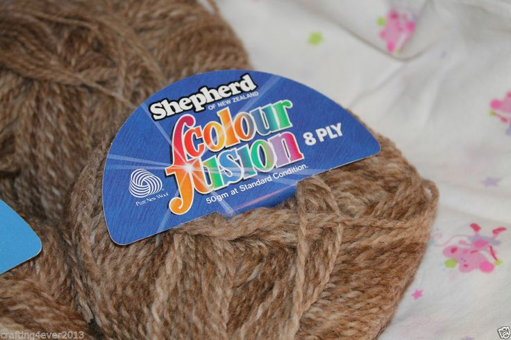 """SOLD - SHEPHERD YARN """"COLOUR FUSION"""" PURE NEW WOOL 500+ GRM 10+ BALLS 8 PLY RUSTIC FAWN - SOLD"""