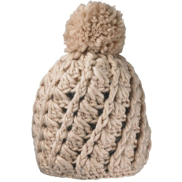 Simply Be Chunky Knit Bobble Hat (£11) ❤ liked on Polyvore featuring accessories, hats, nude, acrylic hat, bobble hat, chunky knit hat, brimmed hat and bobble beanie