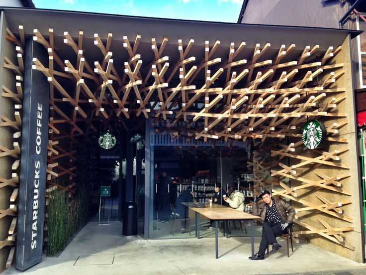 At Starbucks coffee Daizaifu Fukuoka designed by Kengo Kuma :-)