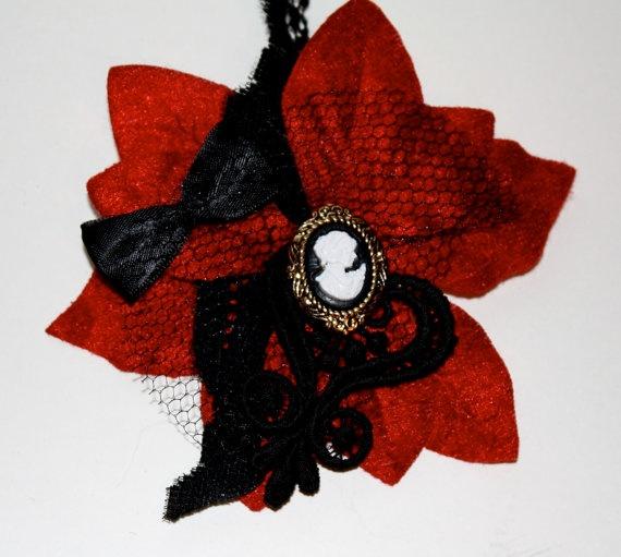 Red Velvet Hair Flower Cameo Centre Black by HarmonyWalker on Etsy, $19.00