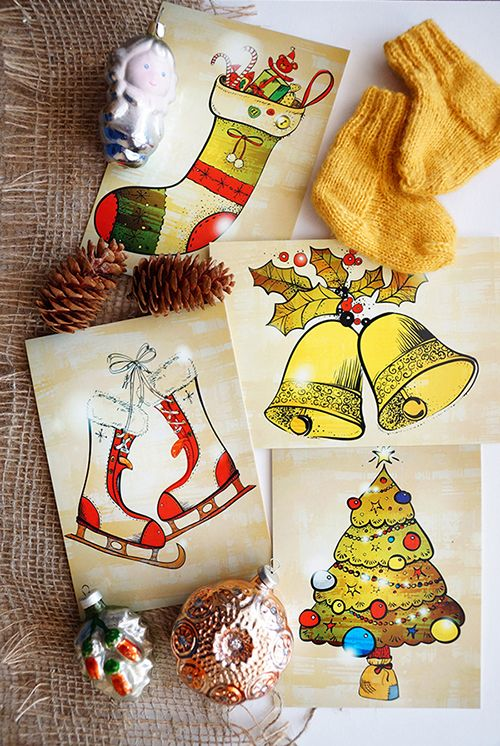 #christmas #sock #bells #skates #tree #card #decor #winter