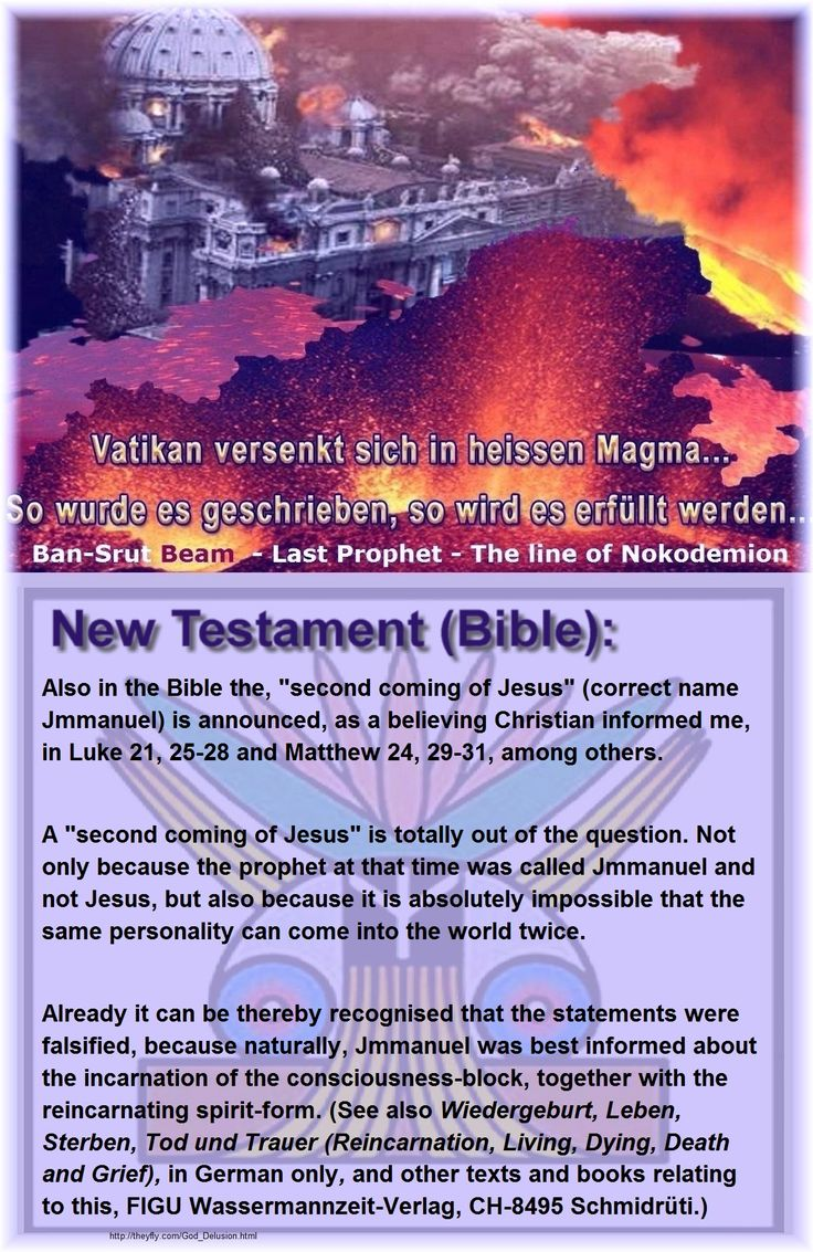 "New Testament (Bible):´  Also in the Bible the, ""second coming of Jesus"" (correct name Jmmanuel) is announced, as a believing Christian informed me, in Luke 21, 25-28 and Matthew 24, 29-31, among others.   A ""second coming of Jesus"" is totally out of the question. Not only because the prophet at that time was called Jmmanuel and not Jesus, but also because it is absolutely impossible that the same personality can come into the world twice. Already it can be thereby recognised that the…"