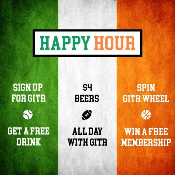 gitr - Social Drinking App Hurry up!! Join gitr for happy hour on thursday Sept 1,2016 mega drinking events in NYC at The Irish Exit NYC! Sign up now for gitr and - GET A FREE DRINK $ 4 BEERS - When you drink with gitr, Spin gitr wheel - WIN A FREE MEMBERSHIP. The Irish Exit 978 2nd Ave, New York, NY 10022. Don't forget to mention gitr to the host when you arrive.
