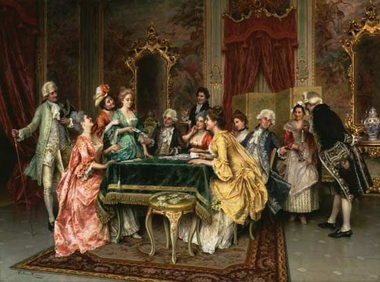 The pack of cards, painted by Arturo Ricci. 18th Century Inspired Art ...
