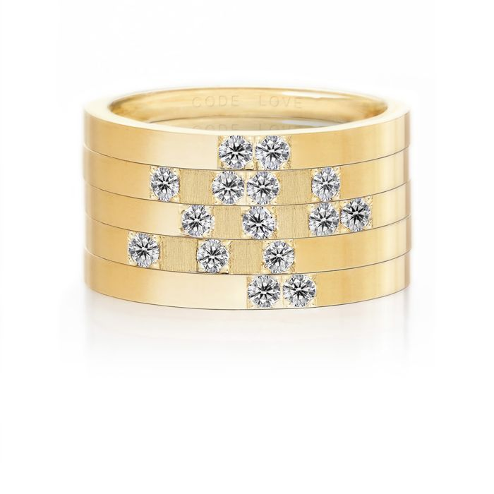 CODE LOVE 'TRUST' Morse Code Union Ring - These unique and beautiful Union Rings have been designed to stack. There are 26 rings in the collection each representing a letter of the English alphabet. Designed using brilliant cut diamonds set in either rose, yellow or white gold you can create whatever your heart desires! www.codelove.com.au