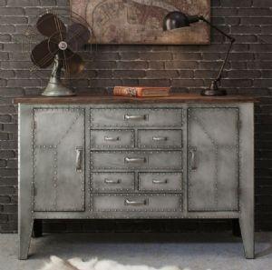 modern home furniture industrial aviation urban chic style metal wood sideboard