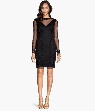 Long-sleeved dress in beaded and sequin-embroidered mesh with a jersey lining an…