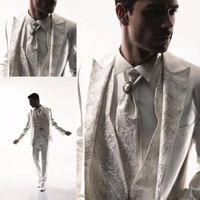 2015 mens abiti da sposa bianco smoking per gli uomini 3 pezzi one button suit personalizzato sposo indossare