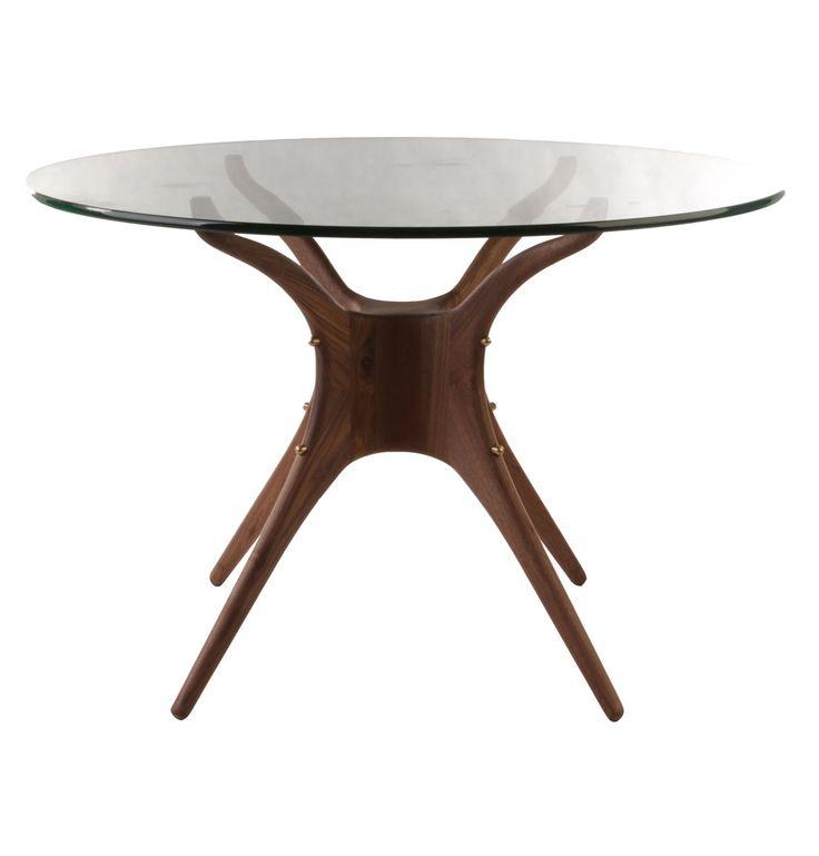 Karizona Solid Walnut and Glass Dining Table - Round - Matt Blatt