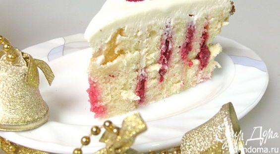 МАЛИНОВЫЙ ТОРТ (спираль). Его яркий полосатый разрез украсит любой праздничный стол!
