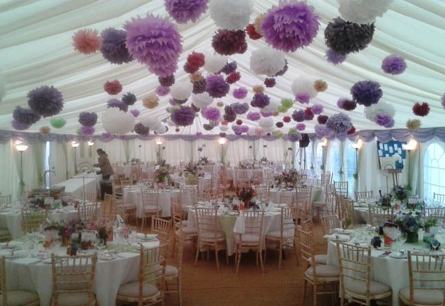 Cheap wedding ceiling decorations marquee hire dorset for Hanging pom poms from ceiling