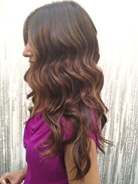 dark brown with golden auburn light brown highlights, subtle