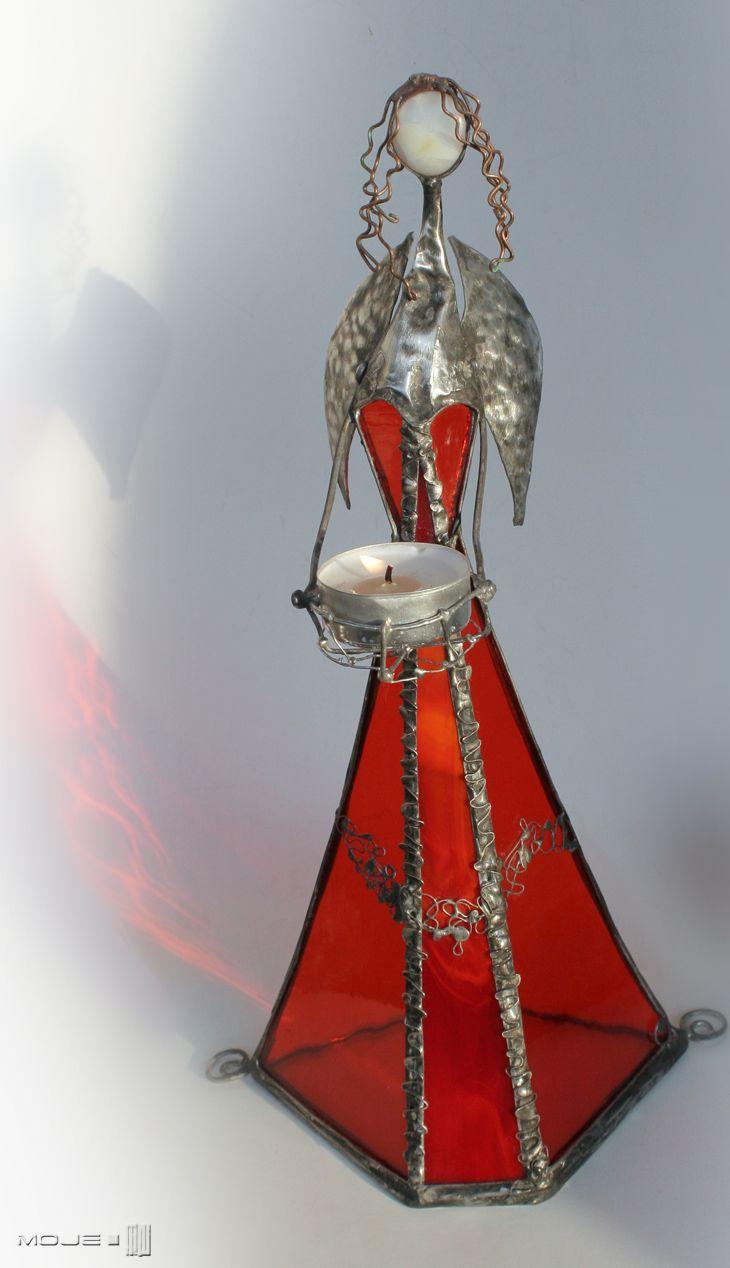 Jugula. Szklany Anioł / Glass Angel. Witraż Tiffany. Dekor stojący. Moje MW