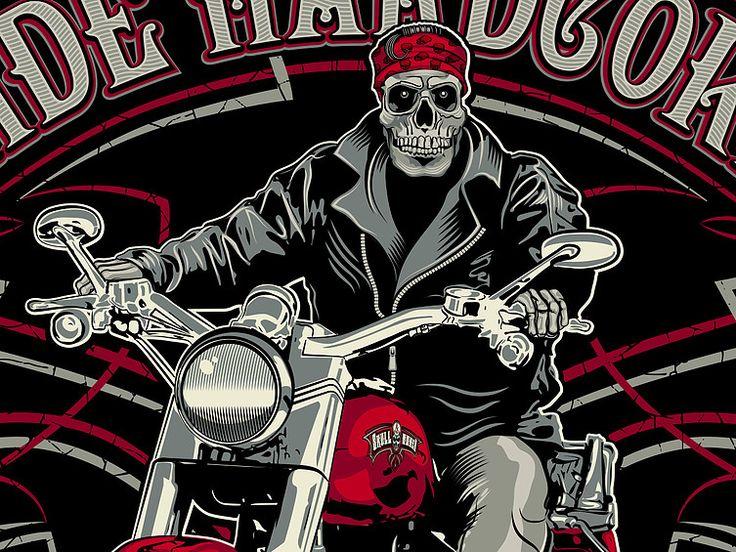 "«Ride hardcore» Fragment vector illustration. Artwork series of biker skeleton. Illustration of the print for t-shirts. The client ""Reya"" studio. The work is done in programs Adobe Illustrator."