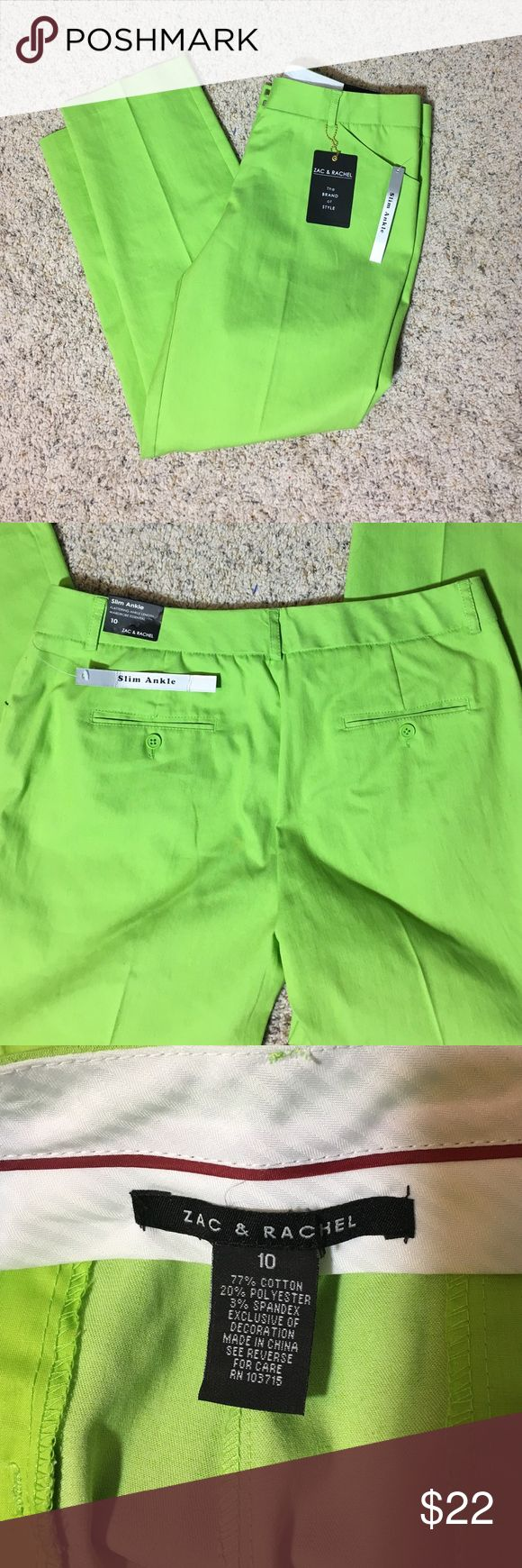 NWT Lime Green Ankle Length Pants Gorgeous lime color for summer!  Slim fit, ankle length.  Cotton/Poly/Spandex.  Size 10 Zac & Rachel Pants Ankle & Cropped