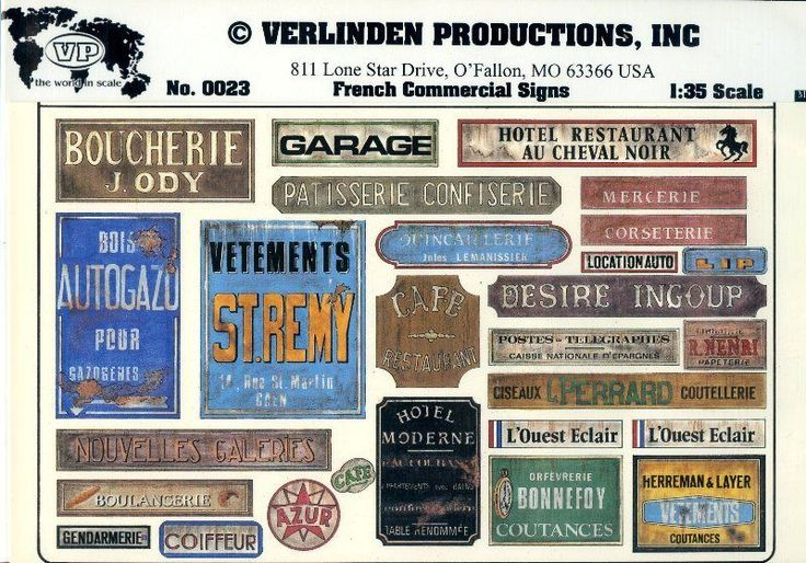 Verlinden Productions 1:35 French Commercial Signs Diorama Accessory #0023 | eBay