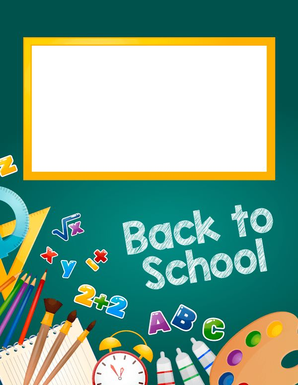 """Free printable """"Back to School"""" binder cover template. Download the cover in JPG or PDF format at http://bindercovers.net/download/back-to-school-binder-cover/"""