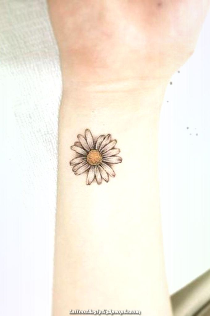 Feminie Small Watercolour Of A Daisy Wrist Tattoo Concepts For