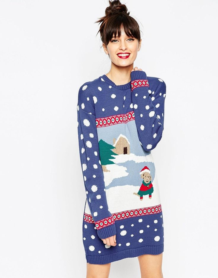Image 1 of ASOS Christmas Jumper Dress With Winter Dog Scene