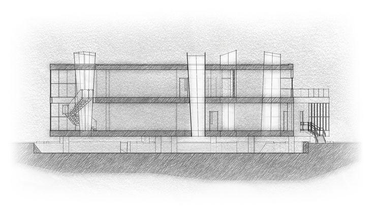 Longitudinal Section; Archaeo Center; 2N Architectural Design; www.nikosnasis.com