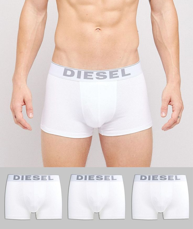 Diesel Cotton Stretch Trunks In 3 Pack - White