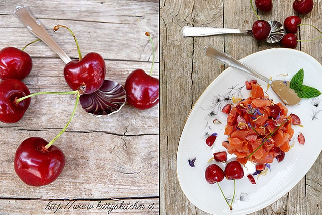 Italian Recipes...  Tartare di salmone selvaggio, ciliegie di Marostica e salsa tahin alla menta & #vicenzaqualità