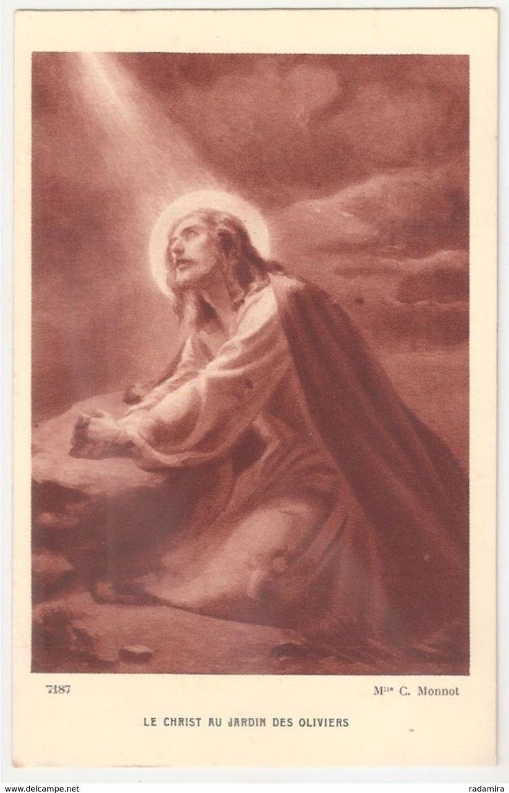 """Carte Postale Ancienne """"LE CHRIST AU JARDIN DES OLIVIERS"""" Mlle C. Monnot - Salon de Paris - France."""