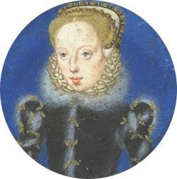 Miniature of Lady Katherine Grey (1540-1568), sister of the executed Queen Jane Grey. Katherine & Mary Grey both had claims to the throne as granddaughters of Mary Tudor, sister of Henry VIII. In 1558, immediately after coming to the throne, Elizabeth I tried to arrange a marriage between Katherine & James Hamilton, Earl of Arran, a fervent Scottish Protestant. Such a match would not be a threat to Elizabeth's reign, & would strengthen Protestant opposition to the Catholic Mary, Queen of…
