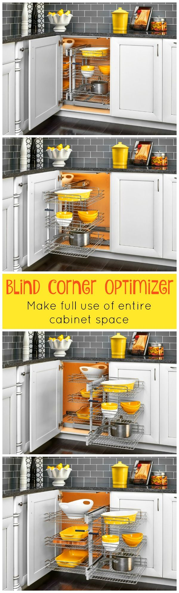 Kitchen corner cabinet wasted space - Blind Corner Cabinet Pull Out Chrome 2 Tier Basket Organizer
