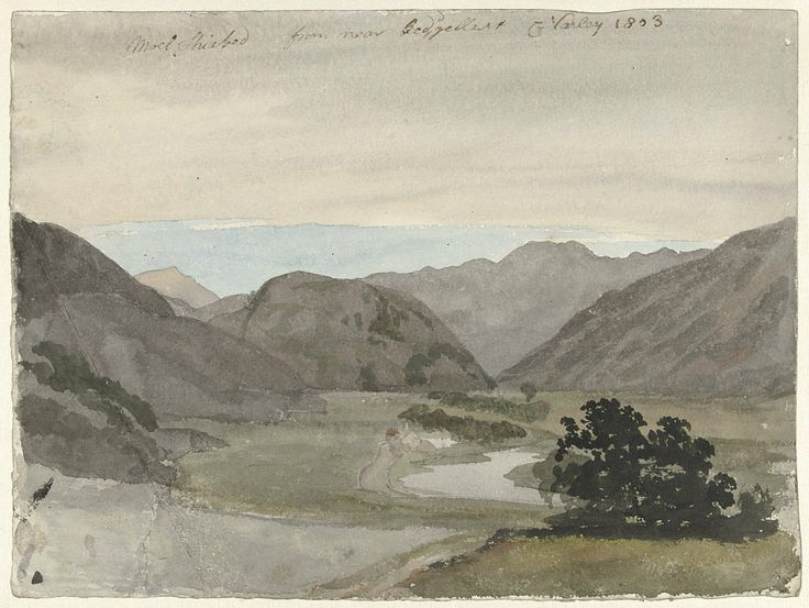 Gezicht op Moel Siabod vanaf Beddgelert, Noord-Wales, Cornelius Varley, 1803