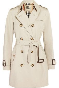 Burberry London Mid-length gabardine trench coat. Perfect length and color! But way to expensive.-RH