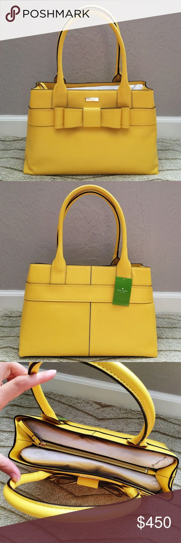Rare Kate Spade Elena Bag This listing is for a beautiful Kate Spade Elena handbag from the Villabella Collection. It is a satchel / shoulder style purse and has an adorable bow front. The color is limoncello, which is a sunny, warm yellow. Finding this color in this style is nearly impossible -- I couldn't even find any images of it online. It is quite rare. MSRP $450 + tax. Kate Spade Bags Satchels