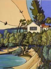 Artist: Doreen Shaw - Title: Beach House Bermagui ( H 70 cm X W 50 cm)