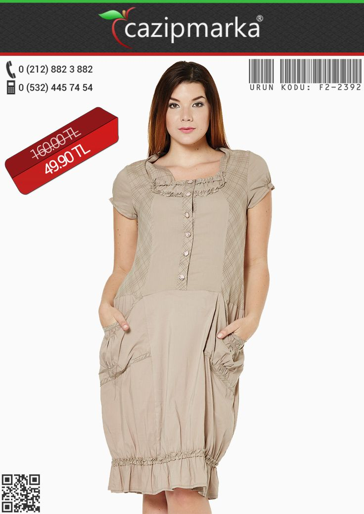 ★Büyük Beden Elbise✔ Önü Düğmeli Ekose Garnili Elbise - Vizon - 49,90 TL' ye Cazipmarka.com' da! ✔ #YeniSezon #KapıdaÖdeme #İndirim #Kampanya #hırka #babet #bluz #kaban #kazak #tunik #elbise #moda #sezonu #başladı #yepyeniürünler #büyükbeden #elbiseler #cıvılcıvılrenkler