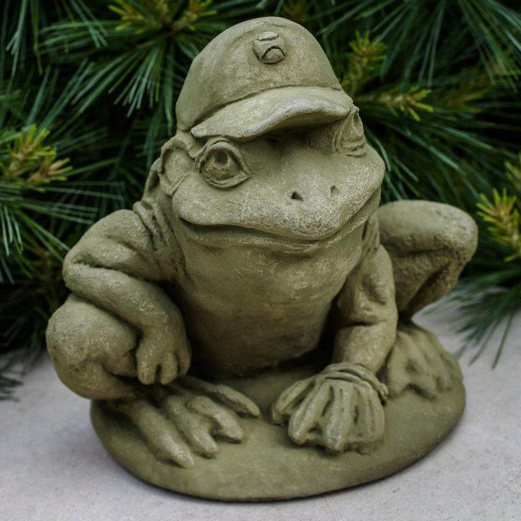 Campania International Baseball Frog Cast Stone Garden Statue   A 516
