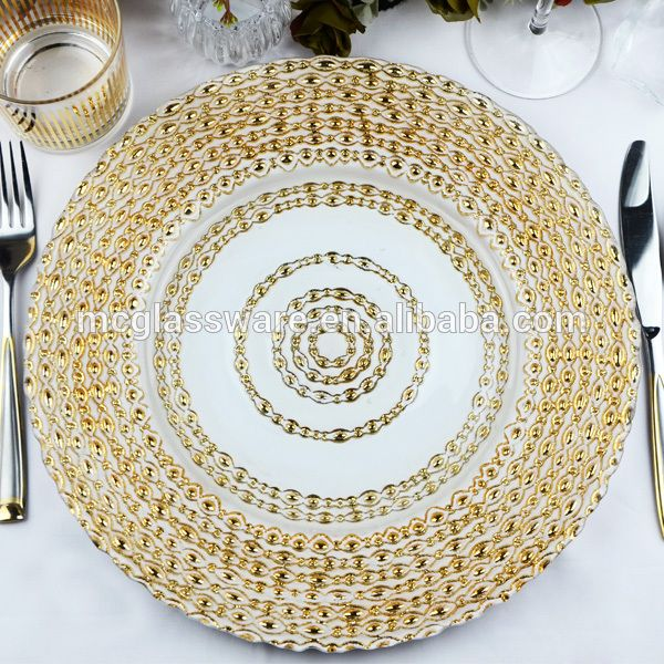New Design Wedding Catering Gold Colored Beaded Glass Charger Plate  Wholesale