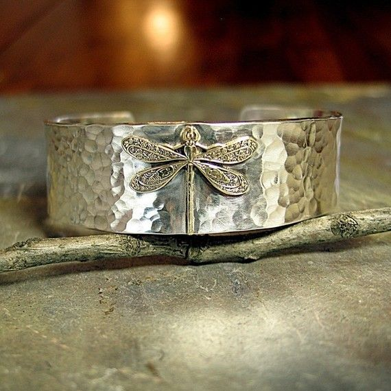 Enchanted Dragonfly Cuff - Solid brass dragonfly set on thick hammered sterling silver    ...from LavenderCottage on Etsy