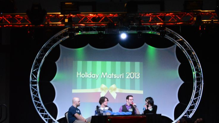 Guest Panel for Holiday Matsuri 2k13 from left to right: Christopher Sabat,Sean Schemmel,J Michael Tatum and Cristina Vee.