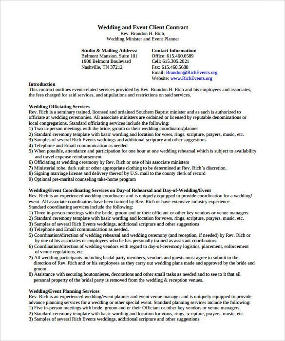 event planning agreement template event Event management