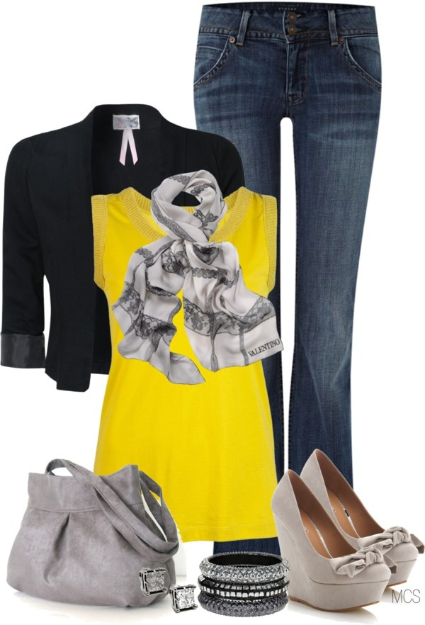 """""""Grey, Yellow, Black"""" by mclaires on Polyvore"""