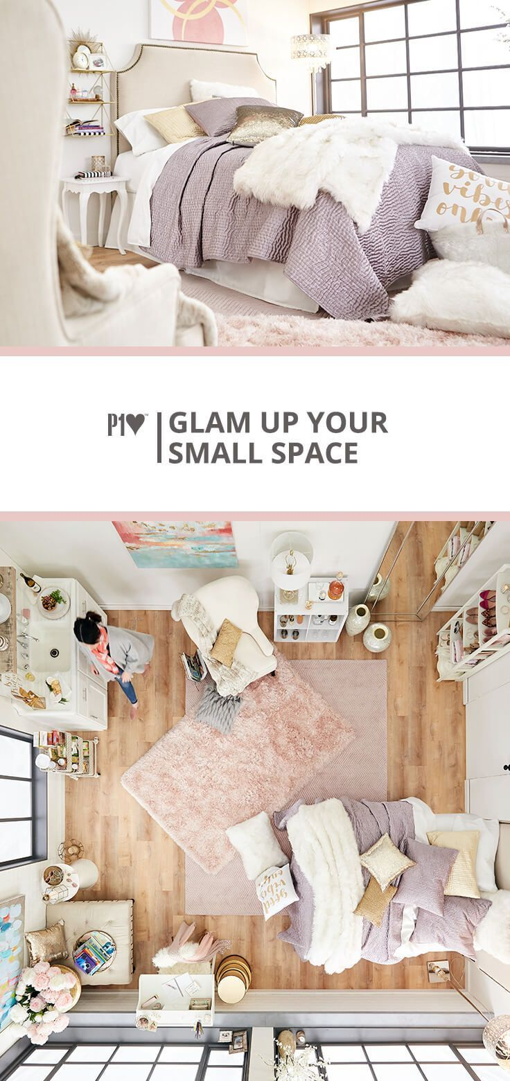 Glam Up Your Small Space Even A Little Room Can Be Big On Glamour Make The Most Of Luxury And Modern Glam Living Room Decorating Small Spaces Glam Living Room