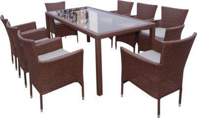 9tlg. Sitzgruppe Kansas Polyrattan Essgruppe braun, Sessel stapelbar, Tisch 180 x 90 x 73 cm Jetzt bestellen unter: https://moebel.ladendirekt.de/garten/gartenmoebel/gartenmoebel-set/?uid=1510c66a-43d6-5509-9bfb-237f3b61d2ff&utm_source=pinterest&utm_medium=pin&utm_campaign=boards #garten #gartenmoebel #gartenmoebelset