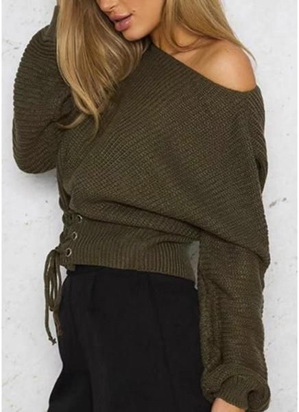 Jaylene - Lace-Up Pullover Sweater  54d1c8632