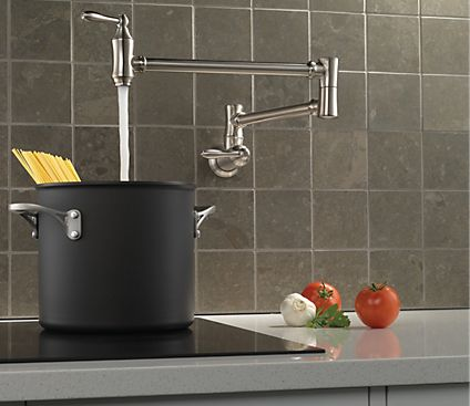 You will love this dual-joint swing Delta 1177LF-SS. It is a pot filler that you should have in your kitchen! #Delta #Victorian #stainlesssteel #kitchenfaucet #faucet #ADA