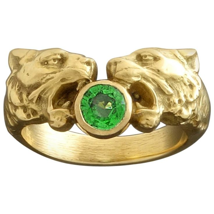 French Art Nouveau Lion Heads Green Garnet Gold Ring  | From a unique collection of vintage more rings at https://www.1stdibs.com/jewelry/rings/more-rings/