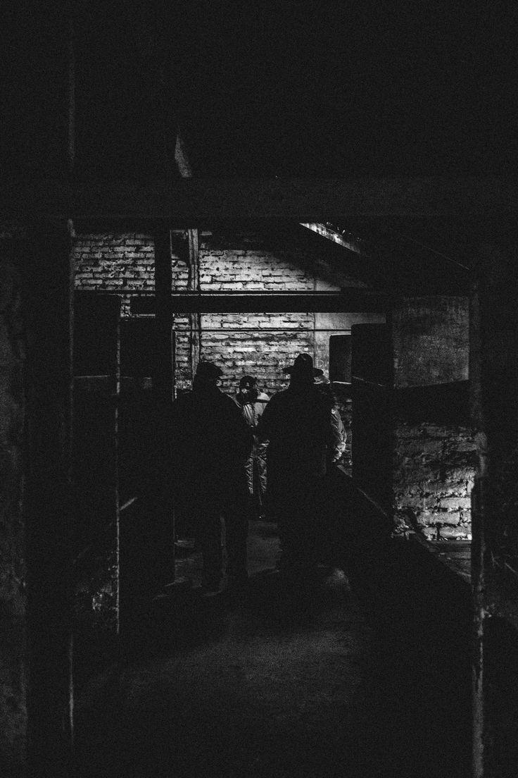 Inside a brick barracks of the Auschwitz II-Birkenau camp.