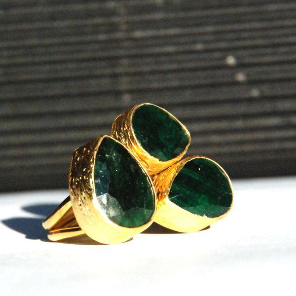 Emerald Drop Cut Ring
