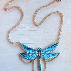 Libélula -  collana libellula con catena e pietre