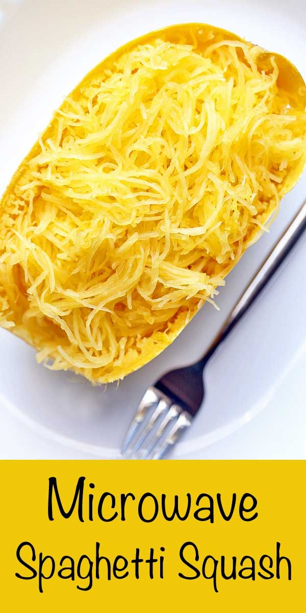 Microwaving spaghetti squash is the fastest and easiest way of preparing this vegetable. I almost never bother with baking it! via @healthyrecipes