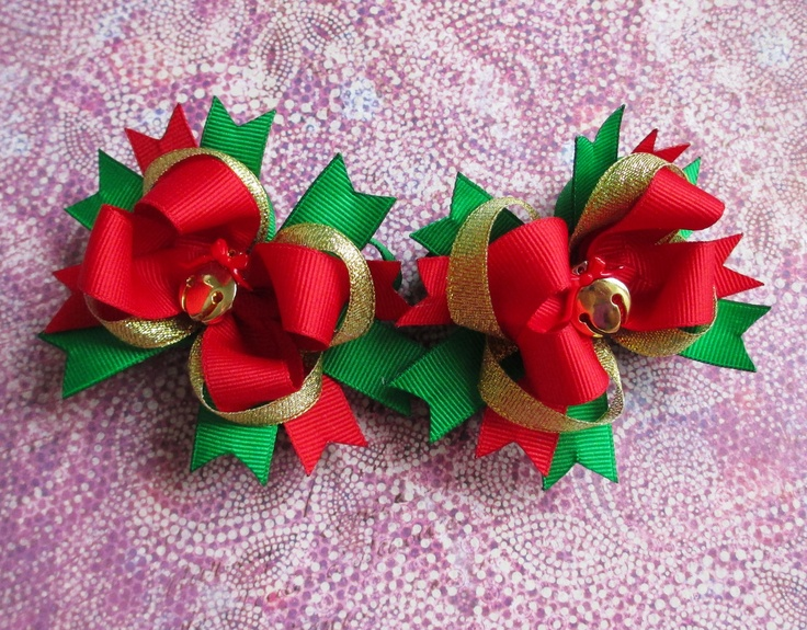 Christmas hair bow Jingle bells headband twin pigtails holiday. $5.75, via Etsy.
